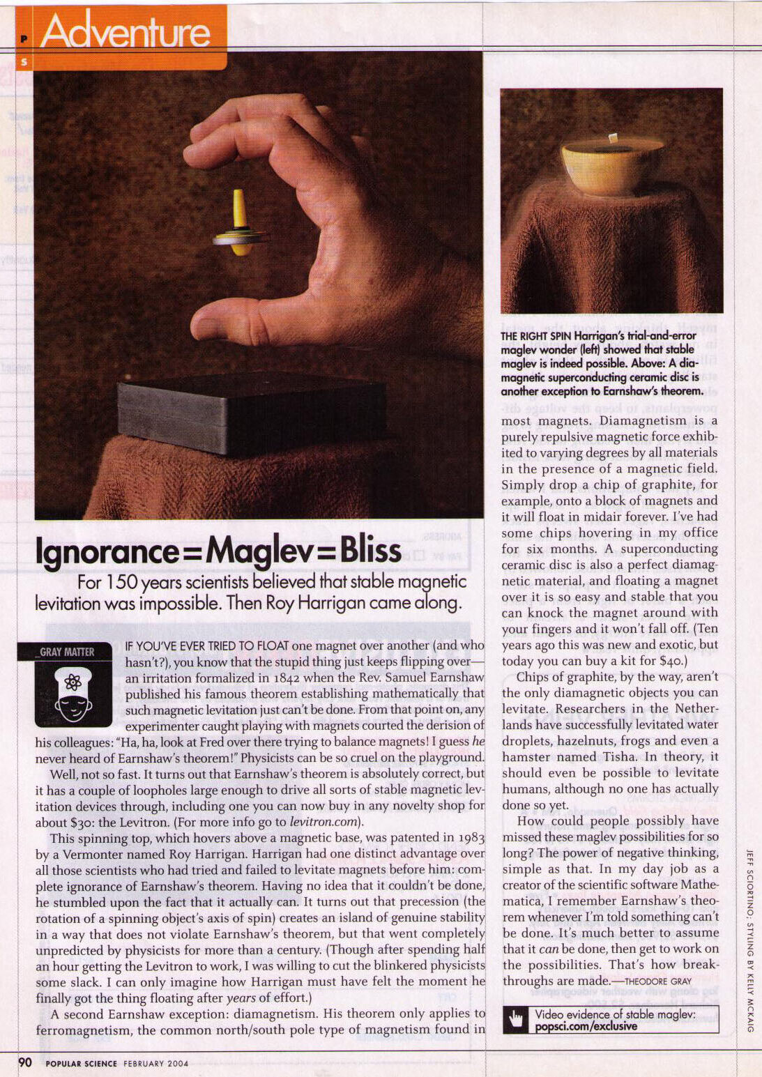 Harrigan & Diamagnetism article in 2004 Popular Science by physicist Theodore Gray